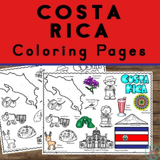 costa rica information and country coloring pages for teaching kids about geography