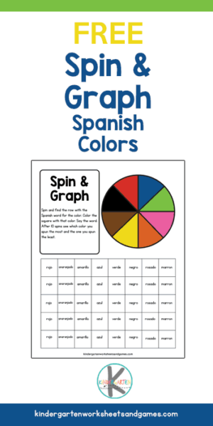 Make learning Spanish Color Words FUN with this free printable spin and graph activity for pre k, kindergarten, grade 1, and grade 2 students.