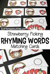 strawberry rhyming words activity