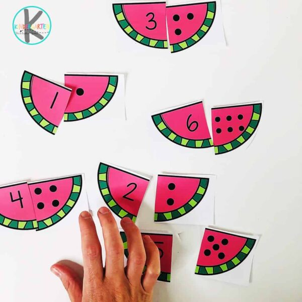 super cute, watermelon printable activity for kids to practice counting to 12