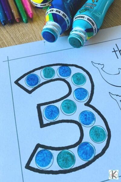 use bingo daubers to make numbers; trace the numbers, and count and color marine animals