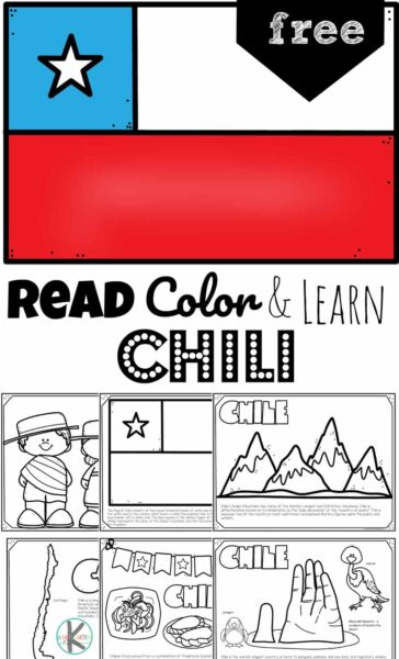 Children will have fun learning about the South American country of Chile with this FREE Printable Chile Coloring Page for preschool, pre k, kindergarten, first grade, 2nd grade, 3rd grade, 4th grade, and 5th grade kids.