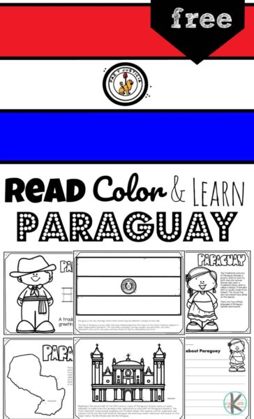 Children will have fun learning about Paraguay and its culture with this FREE Printable Paraguay Coloring Pages for preschool, pre k, kindergarten, first grade, 2nd grade, 3rd grade, 4th grade, and 5th grade kids. This is such a fun geography activity to help kids learn about countries around the world!