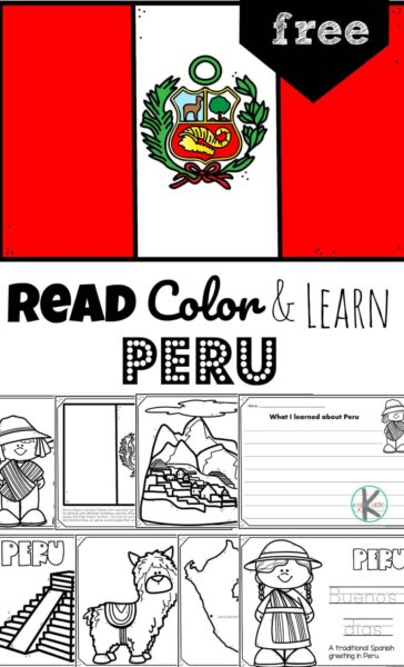 FREE Peru Coloring Page Pack - Learn about the third largest country in South America who is covered halfway by the Amazon rainforest. Learn about the Andes Mountains, llamas, Machu Picchu, and other fascinating aspects of life in Peru with these super cute, free printable Peru coloring pages. This is an engaging, hands-on geography activity for preschool, pre-k, kindergarten, first grade, 2nd grade, 3rd grade, and 4th grade students!