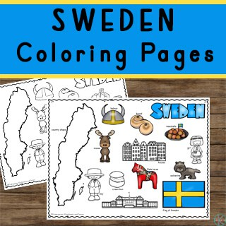 free printable Sweden Coloring Pages to introduce kids to countries around the world