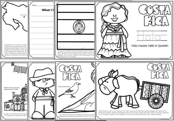 costa rica coloring pages