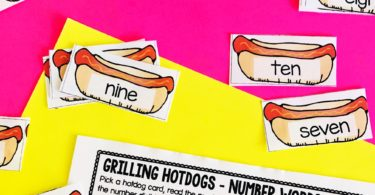 This super cute and FREE printable Hotdog Number Words Activity is a FUN way for pre k, kindergarten, and grade 1 to learn this math concept.
