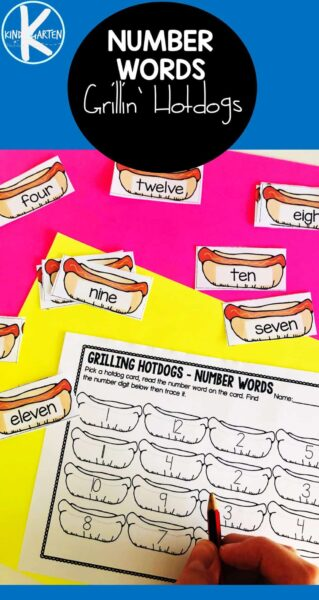 This hotdog activity is great for helping kids learn number names!  To complete this number words activity, learners will choose a number word card, then identify the number digit on their sheet and color it in. There are two recording sheets, so kids can practice finding and tracing the number words too. Simply download pdf file withnumber words printable and you are ready to play and learn with asummer activity for kindergarten.