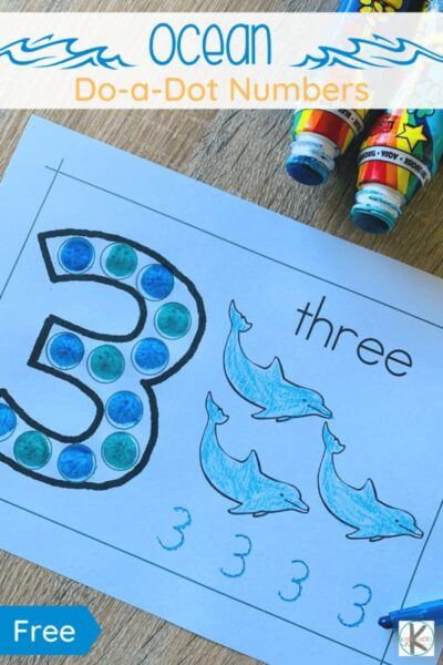 Do you have a preschooler, pre k, or kindergartner at home learning their numbers? Have them happily learning throughout Summer (or any time) with these fun and FREE Ocean Number Do a Dot Printables activity!