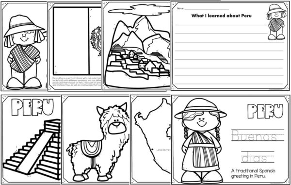 Read Color And Learn - PERU Coloring Pages