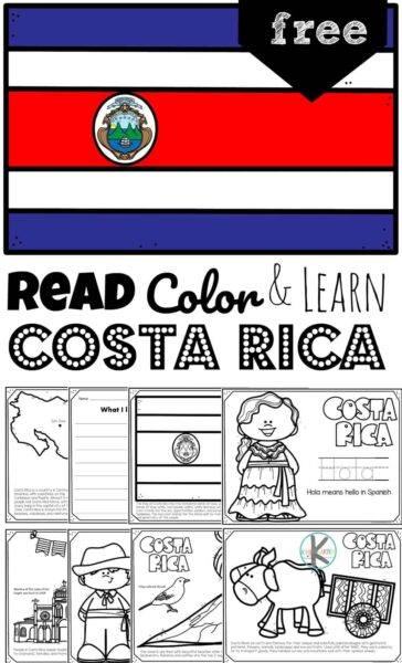 Learn about Costa Rica for kids with these free printable Costa Rica Coloring Pages. Included is a costa rica map, costa rica flag coloring page, traditional clothing, costa rican greeting, costa rican animals, famous landmarks, and more. Kids will learn about a country from around the world that is famous for coffee, bananas, ox and cart and more! These Costa Rica worksheetss are a fun way to teach geography to preschool, pre k, kindergarten, first grade, 2nd grade, 3rd grade, 4th grade, and 5th grade kids.