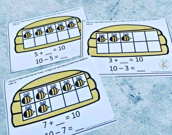 super cute Ten Frame Addition math activity for pre k, kindergarten, and grade 1