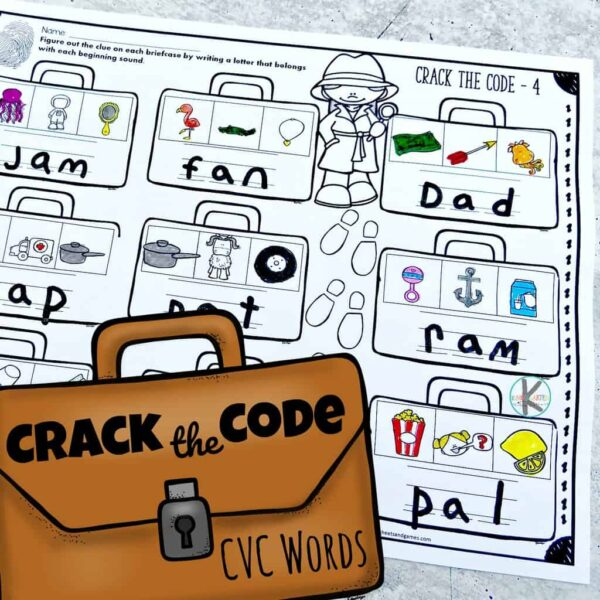 Become a detective with printable Crack the Code Worksheet pages for working on beginning sounds and a CVC Word Activities with kindergarten & first graders