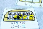 Kindergarten Math Activity to work on addition within 10 with a fun summer bee theme activity