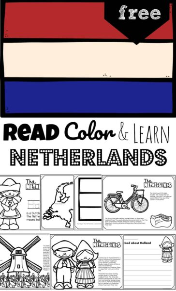 Teach kids about the fascinating country of Holland with these free printable Netherlands Coloring Pages. Known for windmills, wooden, shoes, Amsterdam, and beautiful fields of tulips, The Netherlands is a small country sandwiched between Belgium and Germany in Western Europe. This is a fun worksheet for teaching preschool, pre k, kindergarten, first grade, 2nd grade, 3rd grade, and 4th grade students geography around the world.