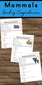 Learn about 15 fascinating mammal animals while improving reading comprehension with these FREE reading comprehension worksheets. These free worksheets are a great way for kindergartners and first graders to practice and improve their reading comprehension, vocabulary, writing skills, and letter and word recognition - which is an important part of learning to read.