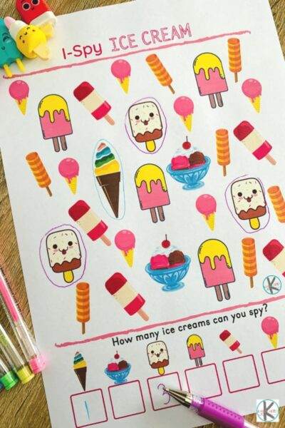 ice cream i spy Summer Activity Sheets