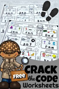FREE Crack the Code Worksheets - Become a detective and solve the case by deciphering the cvc words. These free worksheets will make practicing phonemic awareness, beginning sounds, reading, and spelling FUN! Simply print the pdf file with these free printable, Crack the Code Worksheets for pre k, kindergarten, and first grade students!