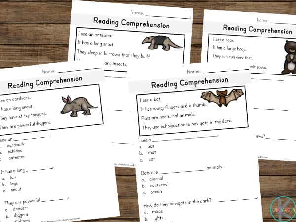 Learn about 15 different mammals with these free reading comprehension worksheets
