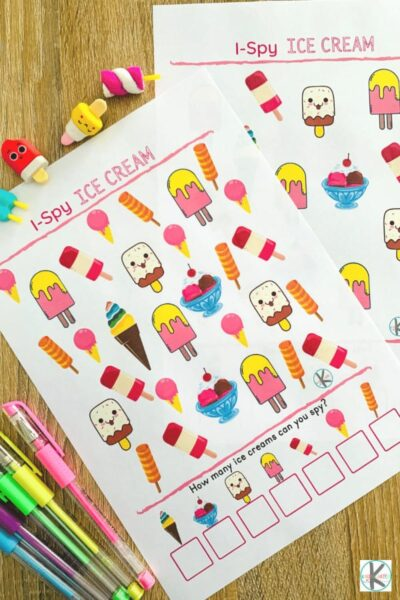 super cute ice cream i spy worksheets for toddler, preschool, pre k, kindergarten, and grade 1 students
