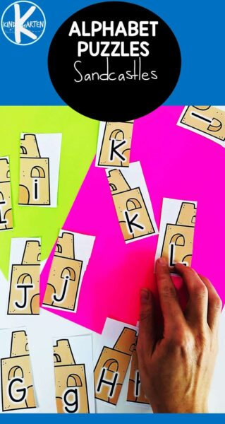 Help students practice matching upper and lowercase letters with these fun kindergten summer activity. Simply print the printables alphbaet puzzles and match the capital and lowercase letters to complete the sancastle. This alphabet matching printables is perfect for abeach theme with preschool, pre-k, and kindergarten age children to work on literacy skills.