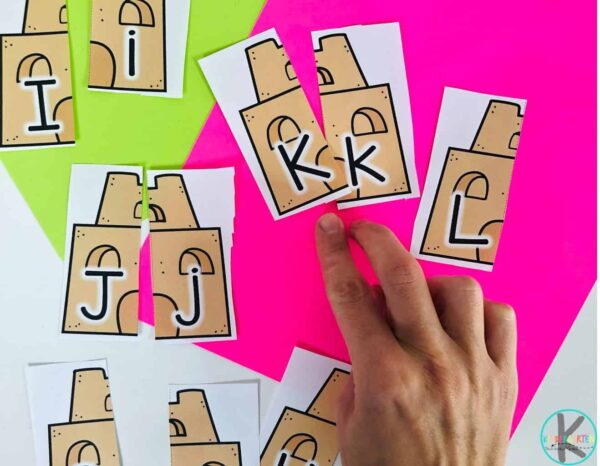 practice letter matching with these summer themed, sandcastle puzzles