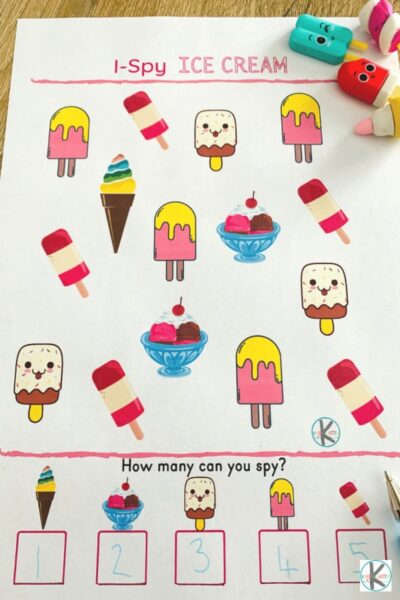 ice cream summer worksheets for kindergartners