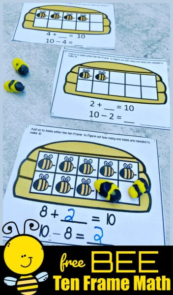 Free BEE Ten Frame Math Activity - Get buzzzzy practicing math with this fun, hands on Bee Ten Frame Math activity for pre k, kindergarten, and first grade students.