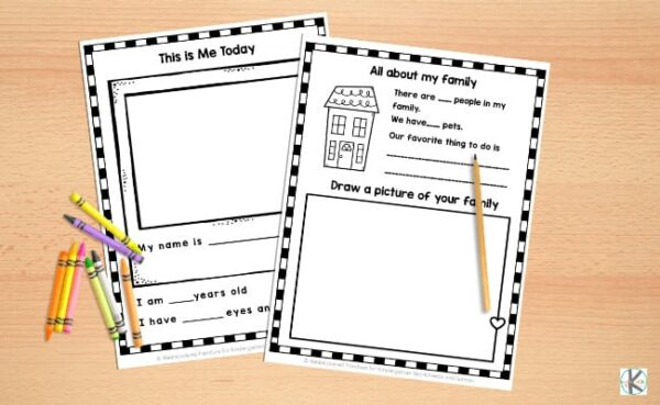 This is me today and all about my family free printable worksheet