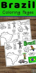 Children will have fun learning about Brazil, the largest country in South America with these super cute and FREE Printable Brazil Coloring Pages for preschool, pre k, kindergarten, first grade, 2nd grade, 3rd grade, 4th grade, and 5th grade kids. From the dense Amazon jungle to colorful Carnival there is lots to learn about in the country of Brasil.