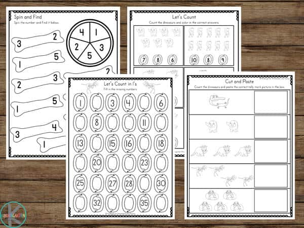 Super cute and free printable dinosaur math worksheets for pre k, kindergarten, and first grade