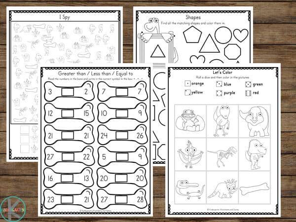 Free Dinosaur worksheets for kindergartens to practice math