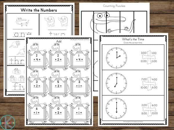 Dinosaur Printables filled with kindergarten math for a fun dino theme
