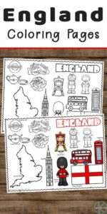 Let's go explore British culture including the iconic guard, Windor castle, Big ben, double decker red buses, London Eye, and tea with these super cute, FREE Printable England Coloring Pages for preschool, pre k, kindergarten, first grade, 2nd grade, 3rd grade, 4th grade, and 5th grade kids.