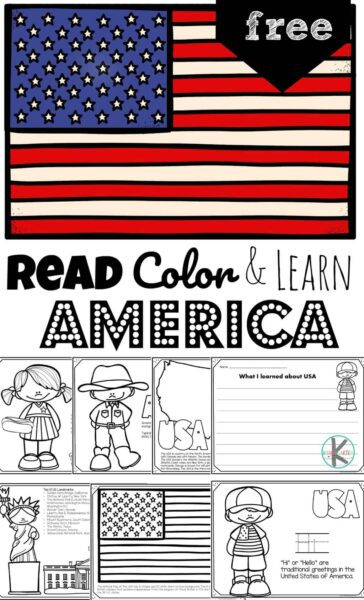 Children will have fun learning about the United States of America and its culture with these FREE PrintableUnited States Coloring Pagesperfect for preschool, pre k, kindergarten, first grade, 2nd grade, 3rd grade, 4th grade, and 5th grade kids.