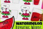 Kids will LOVE this super cute rhyming words worksheets to make practicing sounding out words fun for pre k, kindergarten, and first grade students. Children will choose a Watermelon CVC rhyming words card and find the matching short vowel sound and then cut and paste a watermelon juice cup to find its rhyme. These free printable cut and paste worksheets are such a fun way to practice rhyming with kids.