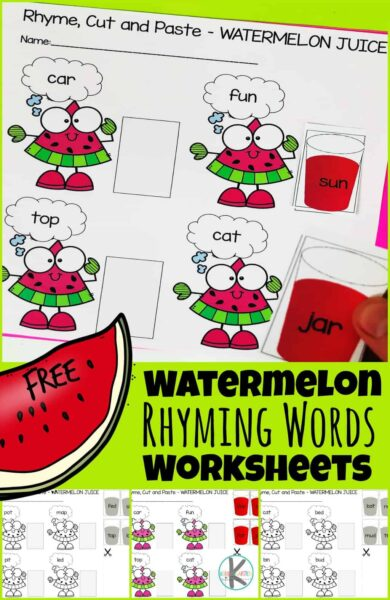 Kids will LOVE this super cute rhyming words worksheets to make practicing sounding out words fun for pre-k, kindergarten, and first grade students. Children will choose a Watermelon CVC rhyming words card and find the matching short vowel sound and then cut and paste a watermelon printable juice cup to find its rhyme. These free printable cut and paste worksheets are such a fun way to practice rhyming with kids. Simply print watermelon worksheetsfor this helpfulwatermelon activity for kids.