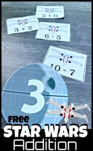 FREE Star Wars Addition - Make practicing addition FUN with this hands-on Star Wars Addition Activity for kindergarten and grade 1 students.