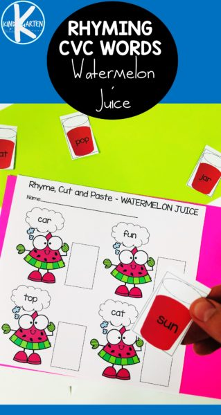 Watermelon Rhyming Words Worksheets for summer learning with preschool, kindergarten, and first grade students