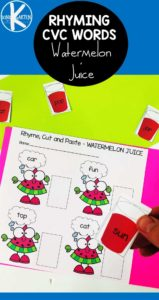 Watermelon Rhyming Words Worksheets for summer leraning with preschool, kindergarten, and first grade students