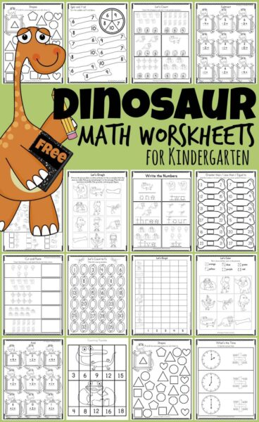Make learning kindergarten math fun with prehistoric, Dinosaur Math! These free printable Dinosaur math worksheets are a great way for preschool, pre k, and kindergarten age children to practice and improve their knowledge of the numbers and simple math equations.  Simply print the black and white dinosaur worksheets and you are ready for a fun dinosaur themed activity for kindergartners!
