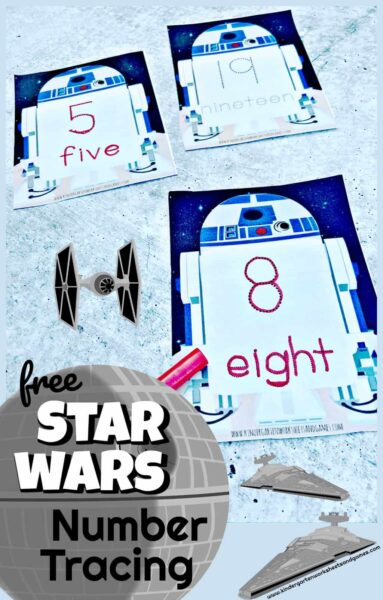 FREE printable Star Wars number tracing activity for kindergartners - Make practicing number tracing FUN with these super cute, Star Wars themed tracing cards for numbers 1-20 and number words too!