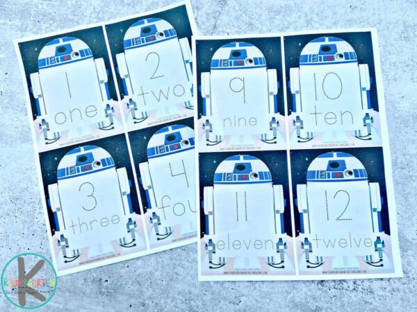 super cute, free printable star wars tracing numbers 1-20 and number words
