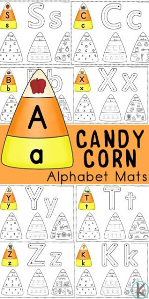 Preschoolers and kindergarteners will love learning and practicing identifying lowercase letters with these super cute, free printable Candy Corn Alphabet mats. This candy corn printable makes it fun for children to practice alphabet tracing, letter recognition with a find the letter activity, and color by beginning sound to work on phonemic awareness. This is such a fun literacy activity for Halloween in October.