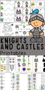 Kids will love working on their math and literacy skills while completing the activities in this huge, 57 pages of Knights and Castle Worksheets. The free preschool worksheets in this medieval castle pack are perfect for toddler, preschool, pre-k, kindergarten, and first grade students to learn abcs, letter tracing, alphabet order, counting, addition, and more. We just love using themed worksheet to make learning engaging and extra fun for kids!