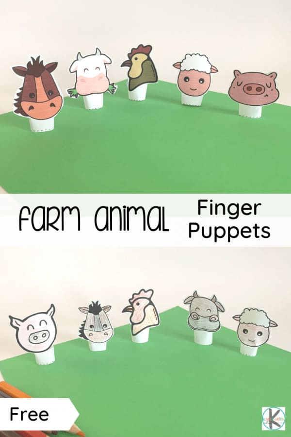 """""""Old MacDonald had a farm, ee-i-ee-i-o..."""" A nursery rhyme/song all young children love to sing! Pair it with these adorable, free printableFarm Animal Finger Puppets and your young kids will love to play and sing along! This free farm printable is perfect for toddler, preschool, pre-k, kindergarten, and first grade students. Print the Old MacDonald printable in color or black and white."""