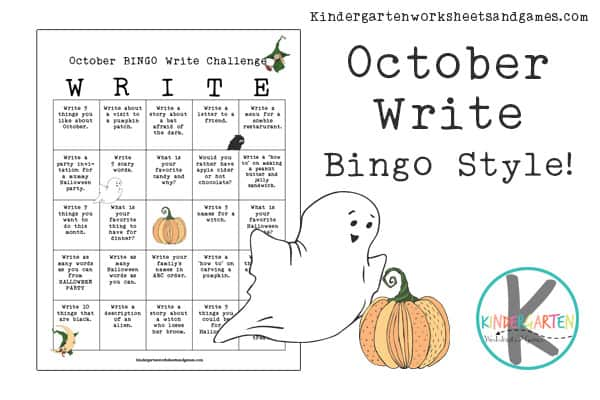 Looking for a fun way to get kids to practice writing in October? Check out this fun, free printable, October BINGO Write Challenge with a list of creative writing prompts for kindergarten, first grade, and 2nd grade students. These free Halloween writing prompts are perfect for engaging children to make writing fun!