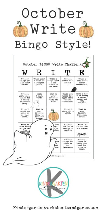 Looking for a fun way to get kids to practice writing this fall Check out this fun, free printable, Halloween Writing Prompts BINGO.  TheseOctober Writing Prompts are included on a one page printable with a list of creative writing prompts for kids to choose from. As kindergarten, first grade, 2nd grade, and 3rd graders complete theoctober writing challenge, they will try to get a B-I-N-G-O. Simply print theoctober journal prompts and you are ready for a fun way to get kids excited about creative writing!
