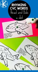 Looking for a fun way to practice reading simple CVC Words to practice phonics skills? You will love this PlaneRhyming CVC Wordsactivity. Simply grab a bingo dauber and the freedo a dot printables in the pdf file and you are ready to read, rhyme, and dab word families. Preschool, pre-k, kindergarten, and first grade students will have fun practicing sounding out words with the letter sounds they've learned while listening for and seeing similar letter patterns in these words.