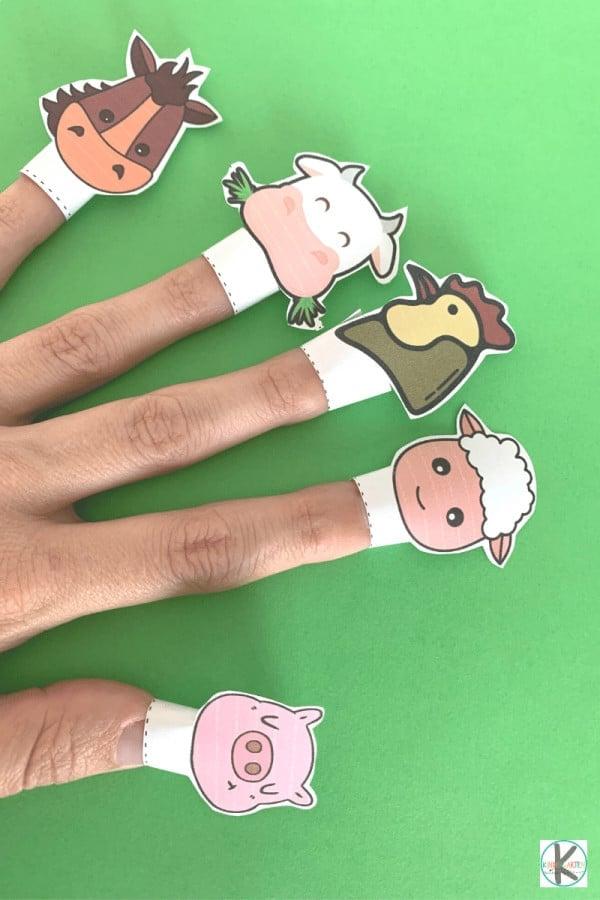 free Printable farm animal finger puppets